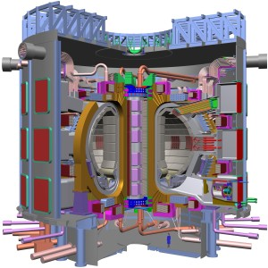 A cutaway view of the ITER thermonuclear research reactor, with a person at lower right adding a sense of scale.